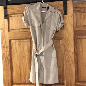 Tan zip up utility dress with belt size small